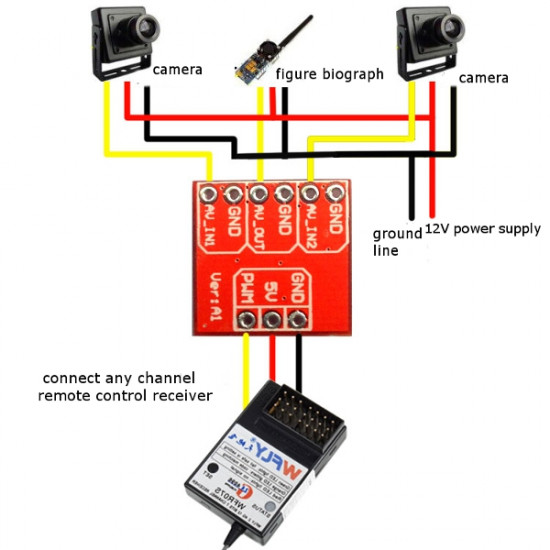 FPV Multi-camera Mini Two-way Electronic Switch Video Switcher Module 2021