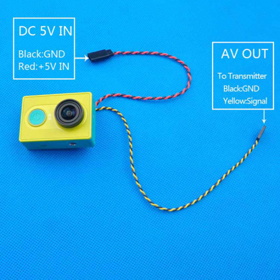 FPV Video Output Transmission Cable Line For  XiaoMi Yi Sport Action Camera 2021