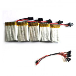 JJRC H8C DFD F183 F182 5x7.4V 500mAh Battery With Charging Cable