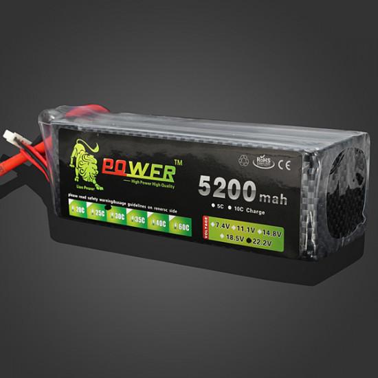 Lion Power 22.2V 5200MAH 30C MAX 45C Lipo Battery XT60 Plug 2021