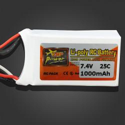ZOP Power 7.4V 1000mAh 25C Lipo Battery JST Plug