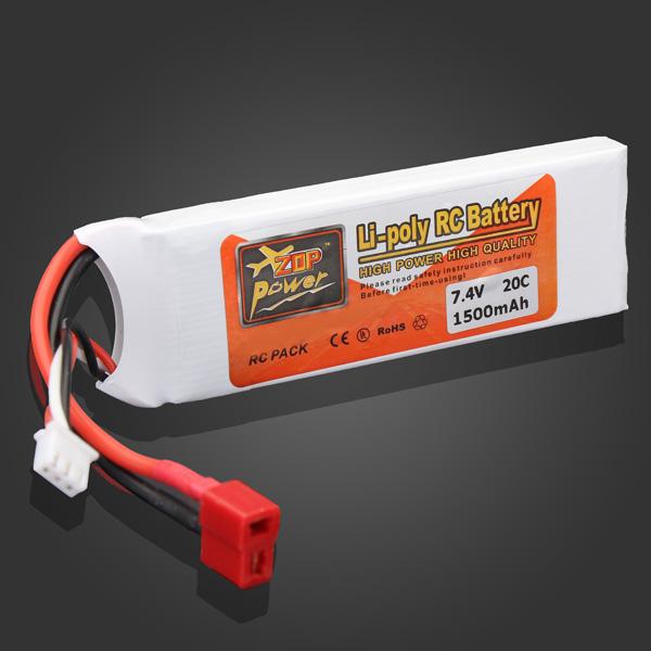 ZOP Power 7.4V 1500mAh 20C Lipo Battery T Plug RC Toys & Hobbies