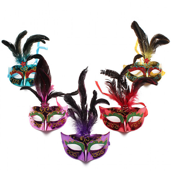 Colorful Feather Masquerade Party Eye Mask Halloween Eye Mask 2021