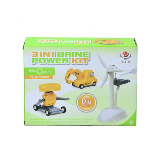 Cute Sunlight 3 in 1 Brine Power Kit DIY Windmill Robot Car For Children 2021