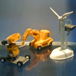 Cute Sunlight 3 in 1 Brine Power Kit DIY Windmill Robot Car For Children