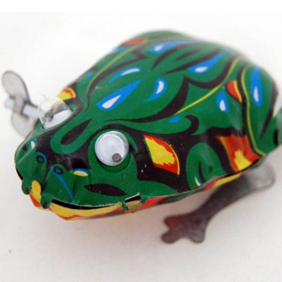Funny Wind Up Moving Eyes Jumping Frog Toy Clockwork Spring Tin Toy 2021