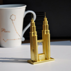 Piececool 3D Assembly Golden Twin Tower Puzzle Toys Building Model