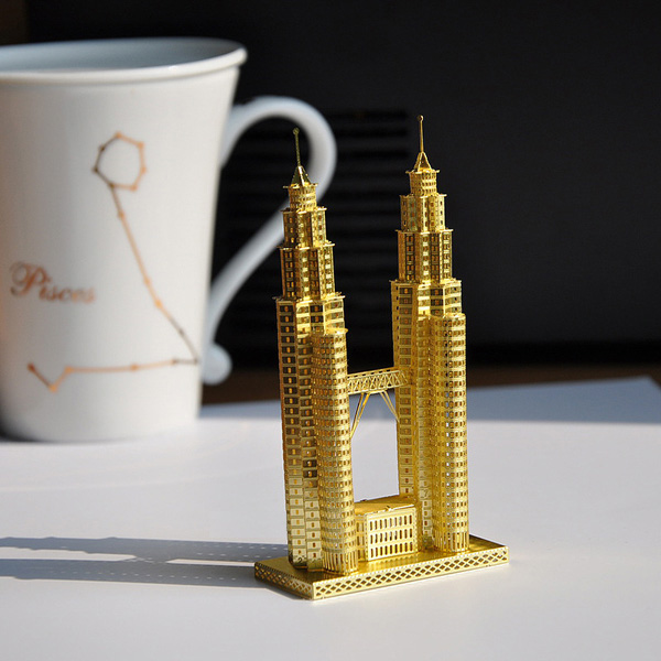 Piececool 3D Assembly Golden Twin Tower Puzzle Toys Building Model Toys Model