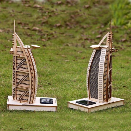 Solar Noctilucous 3D Burj Al Arab Hotel Wooden Puzzle DIY Model 2021