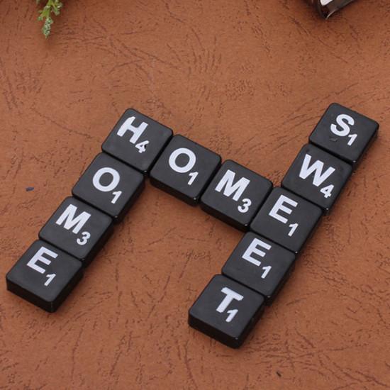 100pcs Scrabble Tiles English Letters Black / White Font For Kids 2021