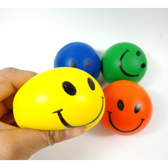 12PCS Hand Stress Relief Squeeze Foam Ball  Smile Face Balls Toys 2021