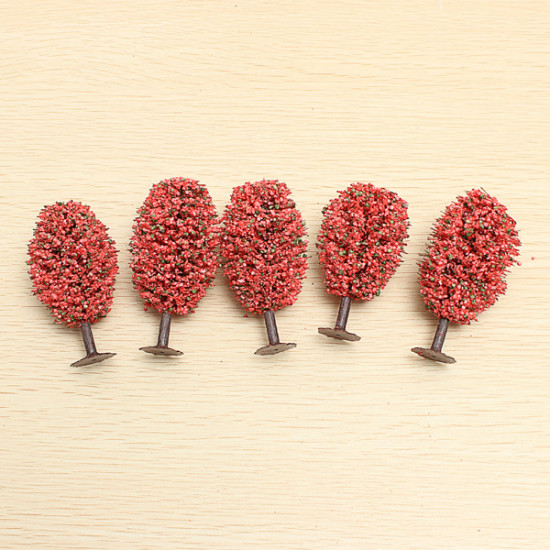 5pcs DIY Sand Table Building Model Materials Red Egg-shaped Tree 2021