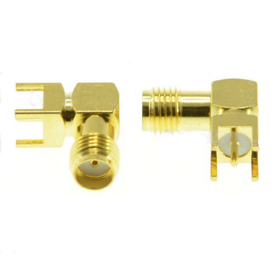 2pcs SMA Female Adapter Right Angle Solder For PCB Board Mount RF Connector 2021