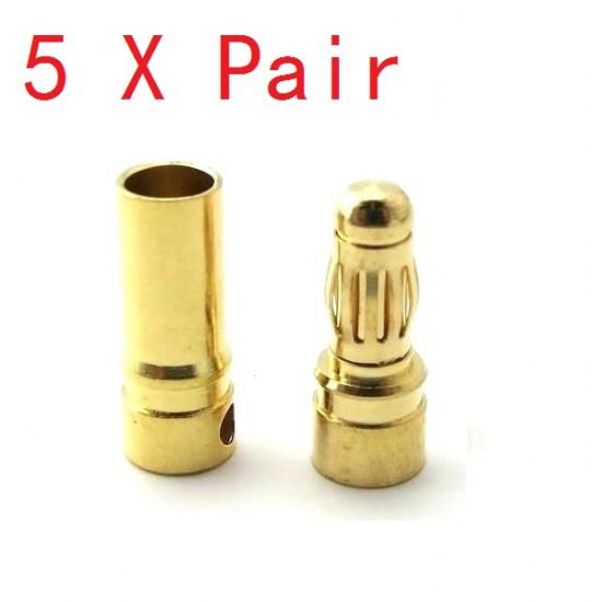 5X Pairs 4mm Gold Bullet Connector Banana Plug For ESC Battery Motor 2021