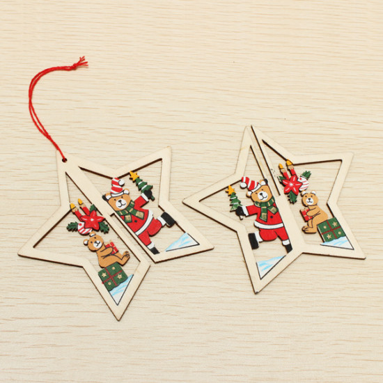 2PCS Christmas Wood Five-Pointed Star Christmas Tree Accessories 2021