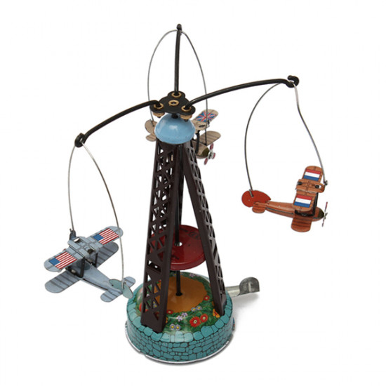 Classic Wind Up Rotating Airplane Carousel Clockwork Tin Toy 2021