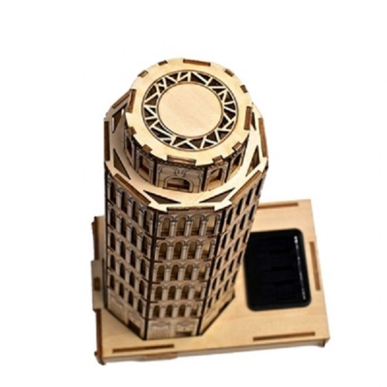 DIY 3D Solar Wooden Puzzle Leaning Tower of Pisa Toy Model 2021