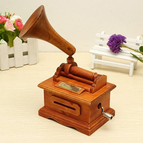 Nostalgic Retro Wooden Hand-Cranked Music Box With Paper Tape 2021