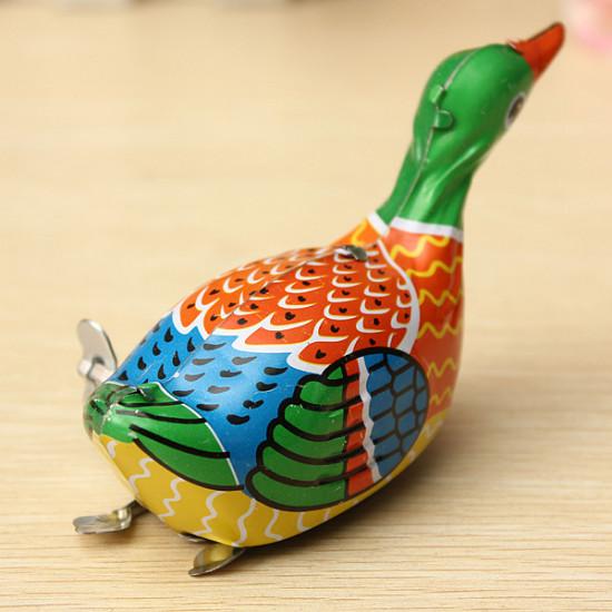 Retro Vintage Clockwork Metal Floating Duck Goose Wind Up Tin Toys 2021